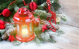 Red lantern, gift, twigs, snow, Christmas theme