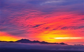 Red sky, sunset, mountains, fog