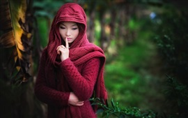 Preview wallpaper Red sweater dress Asian girl