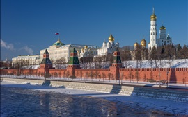 Russia, Moscow, Kremlin, cathedral, river, winter, snow, trees