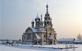 Preview wallpaper Russia, cold winter, snow, temple, Church of the Savior