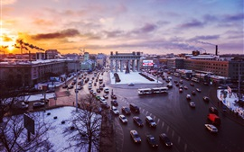 Saint Petersburg, Russia, square, cars, traffic, winter, sunset