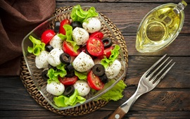 Salad, tomatoes, appetizer, oil