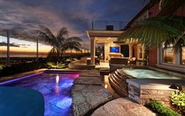 San Clemente, recurso, hotel, piscina, luzes, noturna, EUA