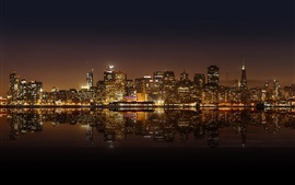 Preview wallpaper San Francisco beautiful city night, skyscrapers, lights, water reflection