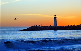 Preview wallpaper Sea, coast, lighthouse, people, sunset, clouds