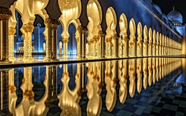 Preview wallpaper Sheikh Zayed Grand Mosque, Abu Dhabi, architecture, night, light