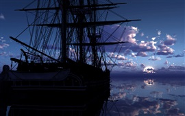 Ship, sea, clouds, water reflection, dawn