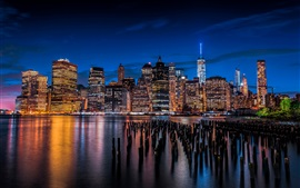 Skyscrapers, lights, night, city, river, New York, Lower Manhattan, USA