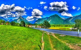 Slovenia, mountains, clouds, road, fence, grass, houses, HDR style