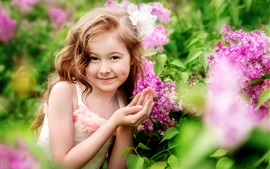 Smile girl, child, flowers