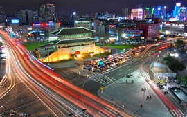 South Korea Seoul South Gate, night, road, traffic, lights
