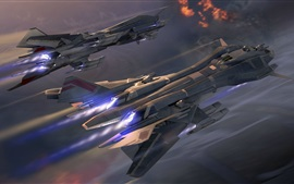 Preview wallpaper Spaceships, space, flight, art design
