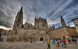 Spain, Burgos, cathedral, tower, people, clouds