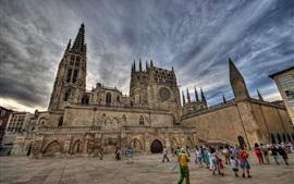 Espanha, Burgos, catedral, torre, pessoas, nuvens