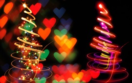 Preview wallpaper Spiral light Christmas trees, beautiful picture