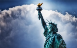 Statue of Liberty, sky, clouds, USA