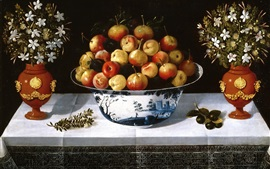 Preview wallpaper Still life, fruit and flowers, vase, art painting