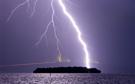 Storm, night, sky, lightning, bridge, river