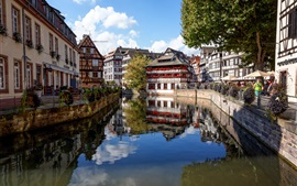 Preview wallpaper Strasbourg, France, houses, river, trees