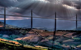 Sun rays, clouds, road, mountains, viaduct, bridge, Millau, France