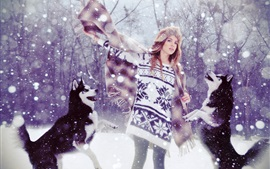 Preview wallpaper Sweater girl and dogs in snow winter
