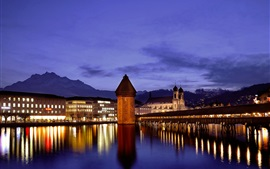 Switzerland, Lucerne, temples, mountains, water reflection, river, bridge, lights
