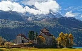 Preview wallpaper Switzerland, mountains, castle, clouds, trees, autumn