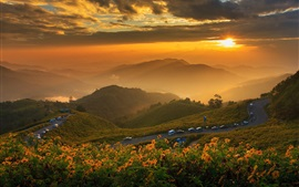 Preview wallpaper Thailand, mountains, dawn, clouds, sunrise, fog, road, cars