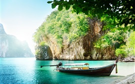 Preview wallpaper Thailand scenery, coast, sea, boat, cliff, leaves, sunshine