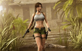 Preview wallpaper Tomb Raider, Lara Croft, shorts, crocodile