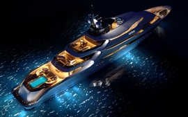 Preview wallpaper Top view the superyacht, night, lights