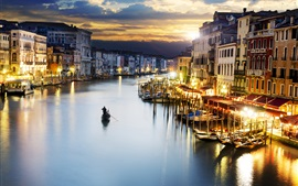 Preview wallpaper Travel to Venice, canal, boats, houses, lights, dusk, Italy