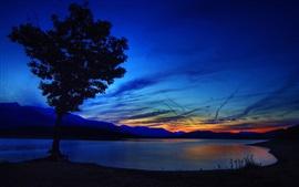 Árvore, lago, montanhas, pôr do sol, céu, nuvens, crepúsculo, brilho