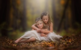 Preview wallpaper Two cute little girls in autumn