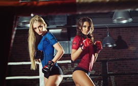 Preview wallpaper Two slim blonde girls, shorts, boxing, gloves, sports