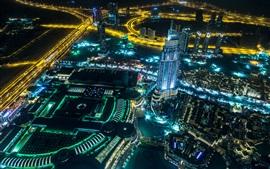 Emirados Árabes Unidos, Dubai, cidade, noite, estrada, arranha-céus, luzes