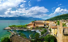 Preview wallpaper Veneto, Torri del Benaco, Italy, city, bay, houses, boats, clouds