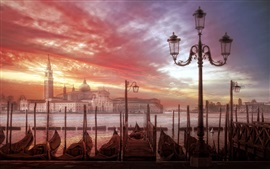 Venice, city, boats, river, houses, clouds, sunset