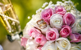 Preview wallpaper Wedding flowers, bouquet, pink and white roses, rings