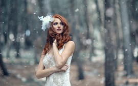 Preview wallpaper White dress girl in the winter, trees, snowflakes