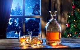 Preview wallpaper Window, night, bottle, whiskey, glass cups, drinks, ice cube, Christmas