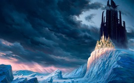 Winter, mountains, snow, ice, clouds, castle, city, skyscrapers, fantasy world