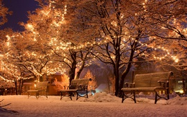 Preview wallpaper Winter, night, snow, benches, trees, street, holiday lights