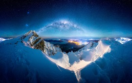 Preview wallpaper Winter, snow, mountains, night, milky way, stars