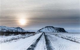 Preview wallpaper Winter, snow, road, sky, sunset, dusk