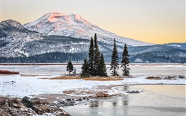 Preview wallpaper Winter, snow, trees, mountains, snow, river, USA nature landscape