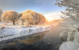 Winter, thick snow, river, trees, frozen, sunrise, fog, dawn
