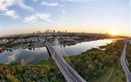 Preview wallpaper Wisla, Warsaw, Poland, city, houses, bridge, river, sunset