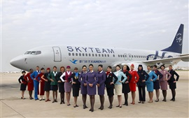 Xiamen Air, airport, plane, girls, flight attendant